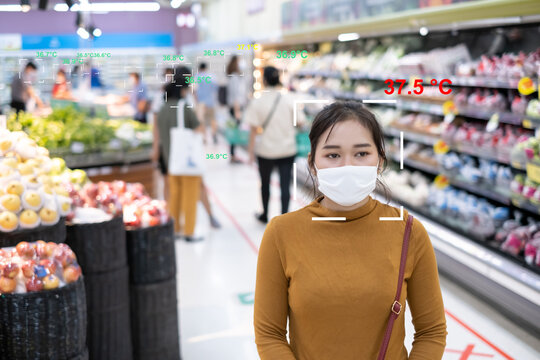 Monitor temperature thermal check scaning people in supermarket prevention