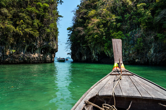 View from a longtail boat off the coast of Krabi