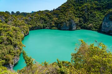 Koh Mae Mother Island and its inland saltwater lagoon called Emerald Lake Thale Nai in Ang Thong National Marine Park