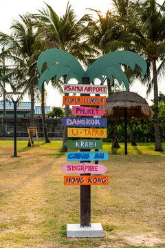 Decorative destination signs at Koh Samui airport
