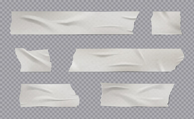 Adhesive tape. Realistic sticky wrinkled paper tape with shadows creases torn edges damaged surface vector templates. Scotch paper adhesive, tape sticky ripped illustration