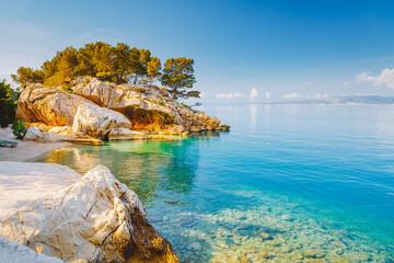 Wall Mural - Cozy and wild beach with azure water in luxurious lagoon. Location place Croatia, Dalmatia region, Balkans, Europe.