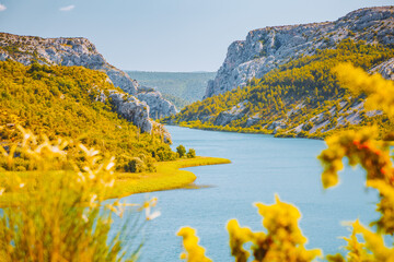 Wall Mural - Picturesque view of the canyon lake Visovac in a beautiful summer day. Location place Krka National Park, Croatia, Europe.