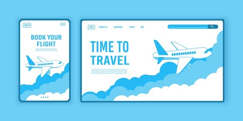 Airplane ticket template or landing page design, banner with flying airliner in sky Fotobehang