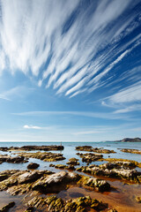 Wall Mural - Breathtaking sea with white clouds. Sicily, Italy Europe.