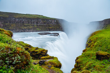 Wall Mural - Dramatic view of the powerful Gullfoss waterfall. Location place canyon of the Hvita river, Iceland, Europe.