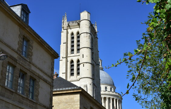 Lycee Henri IV Clovis Bell Tower with the Pantheon Dome from Rue Descartes. Paris, France.