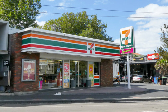 Melbourne, Australia: March 23, 2017: 7-Eleven convenience store the suburb of St Kilda. 7-Eleven is a Japanese-owned American international chain of convenience stores. Illustrative Editorial