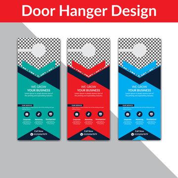 Door hanger template, Set of door hangers background. Door hanger mockup. Vector illustration, corporate door hanger design, Door hanger tags, do not disturb and make up room sign Premium Vector,