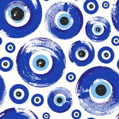 Seamless Pattern with hand drawn Turkish eye. Symbol of protection Turkey, Greece, Cyprus, Crete. Background with magic items, attributes. Amulet - blue Turkish Fatima's Eye.