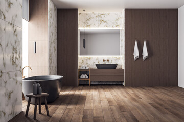 Luxury bathroom with bathtub and self care products.