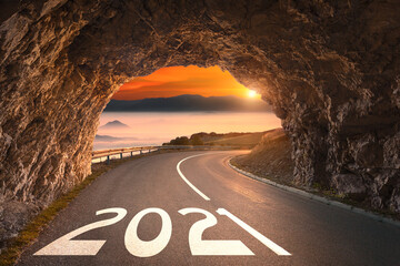Fototapeta 2021 year with light at the end of the tunnel