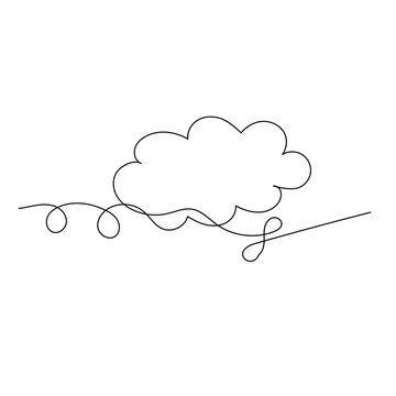 isolated, cloud, sky continuous line drawing, sketch