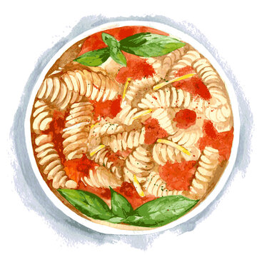 Vegetarian pasta with tomato and Basil. Watercolor illustration isolated on white background. Vector