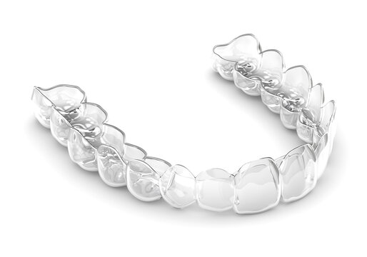 3d render of invisalign removable and invisible retainer