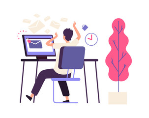 Inefficient time management. Administrator receives lot of messages. Busy man, operator or manager flat character. Info e-mail, deadline vector. Illustration irresponsible inefficient management