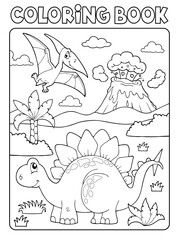 Photo sur Plexiglas Enfants Coloring book dinosaur composition image 1
