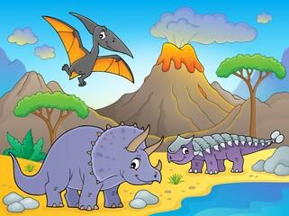 Photo sur Aluminium Enfants Dinosaurs near volcano image 1