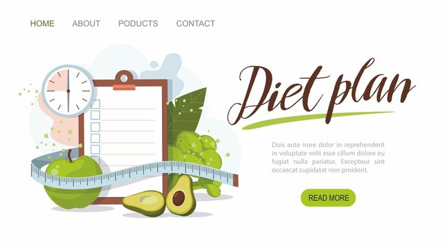 Healthy food and Diet planning. Weight loss concept. Web banner template