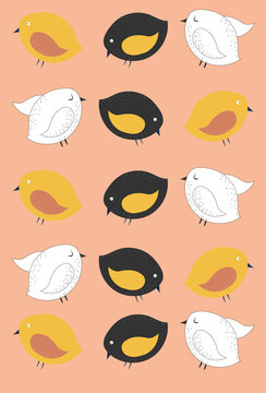 Pattern of random colored chicks on pink background