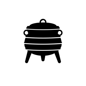 Three legged zulu pot silhouette icon. Clipart image isolated on white background