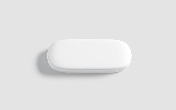 Blank white closed glasses case mockup, gray background