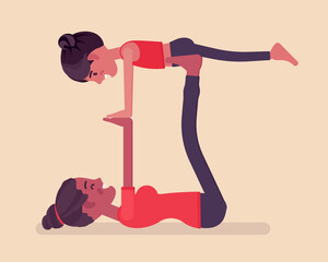 Family yoga, black happy yogi mother, daughter in sports wear practicing acroyoga balance exercise, kid and parent enjoying yogic practice together. Vector flat style cartoon illustration, side view
