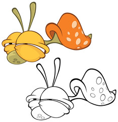 Tuinposter Babykamer Vector Illustration of a Cute Cartoon Character Snail for you Design and Computer Game. Coloring Book Outline Set