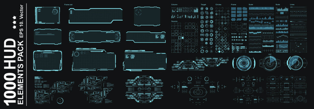 HUD Elements Pack. Big set vector elements for creating graphic touch user interface of the game. Virtual graphic panel with HUD