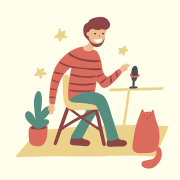 broadcaster at workplace flat character isolated vector. Radio host with table. Podcast concept. Media hosting.