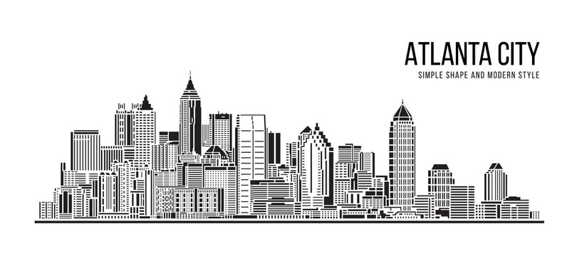 Cityscape Building Abstract Simple shape and modern style art Vector design -  Atlanta city