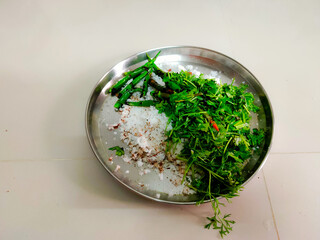 grated coconut with coriander and green chillies