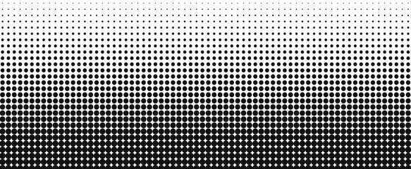 Vertical gradient of black and white dots. Halftone texture. Vector illustration. Monochrome dots background.
