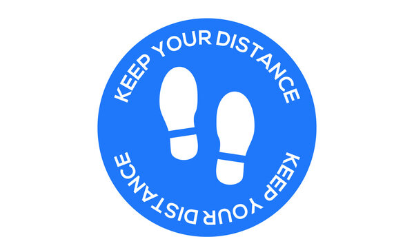 Keep your distance, with foot print, social distancing illustration to indicate or remind people to keep a minimum of 6ft to help prevent the spread of the covid-19 pandemic vector sign