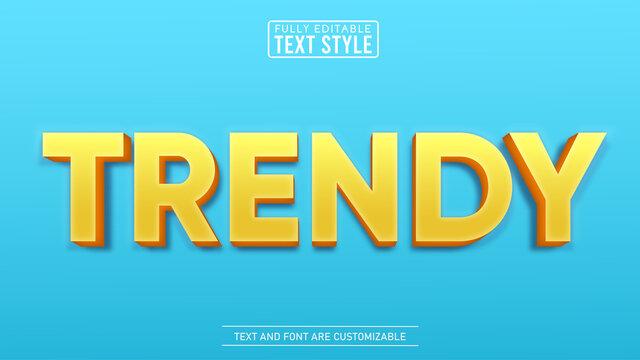3D Yellow Trendy Editable Text Effect