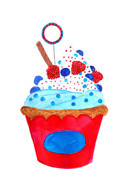 Watercolor 4th of july cupcake
