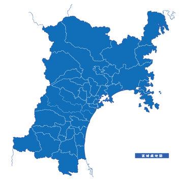 宮城県地図 シンプル青 市区町村