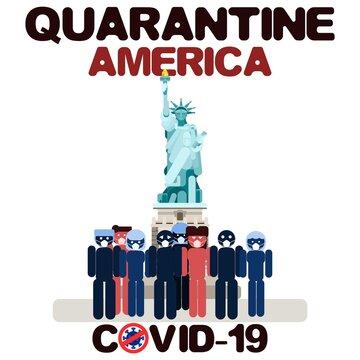 america quarantine crowd near the statue flat new