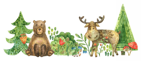 Watercolor border of forest trees (fir trees, bushes, branches, berries). Illustration of animals, moose and bear