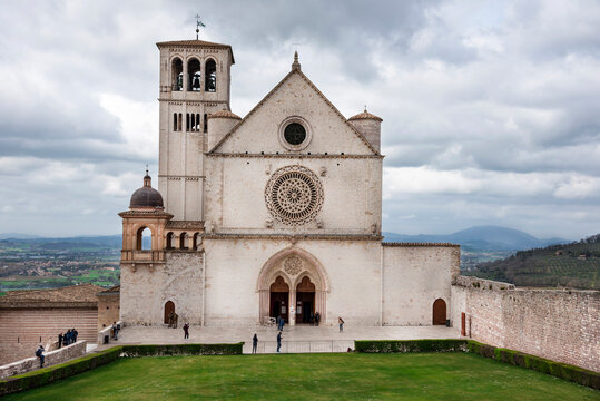 Italy, front of the Basilica of St. Francis in Assisi, medieval city of central Italy, birthplace of St. Francis and St. Clare