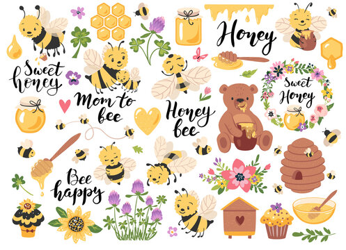 Honey, bees, quotes and other beekeeping hand drawn elements. Perfect for scrapbooking, greeting card, party invitation, poster, tag, sticker kit. Vector illustration.