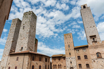 Fototapete - historical building in medieval town San Gimignano, Tuscany, Italy