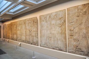 Assyrian reliefs in British Museum, London, UK