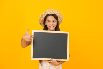 school holiday is starting. summer school study. adventure awaits. school summer program. kid fashion sale. copy space. little girl wear straw hat. travel concept. summer vacation for children