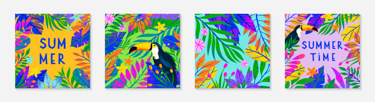 Bundle of summer vector illustration with bright tropical leaves,flowers,toucan.Multicolor plants with hand drawn texture.Exotic backgrounds perfect for prints,flyers,banners,invitations,social media