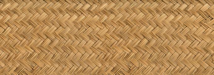 Fototapeta Woven bamboo mat texture banner obraz