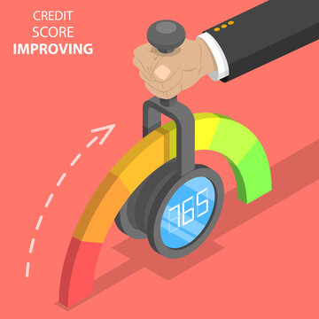 3D Isometric Flat Vector Concept of Credit Score Imporving, Credit History Index, Personal Credit Ranking.