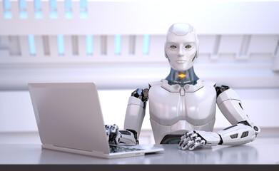 Humanoid robot sitting behind table