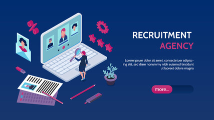 Foto op Canvas Graffiti collage Recruitment Agency Isometric Banner