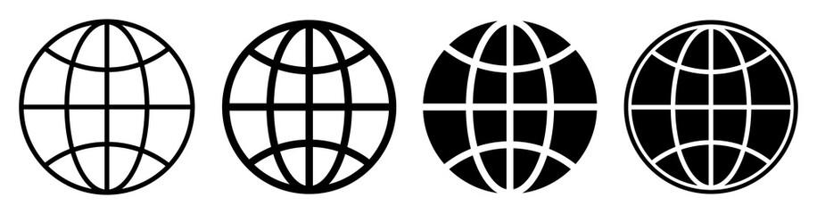 Globe icon set. Vector illustration
